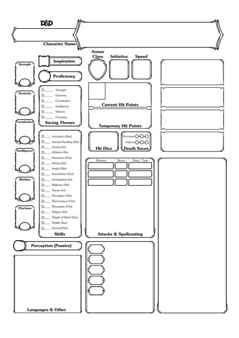 dungeons and dragons 5th edition editable character sheet
