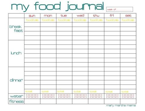 printable food journal weight loss 1000 ideas about food journal printable on pinterest