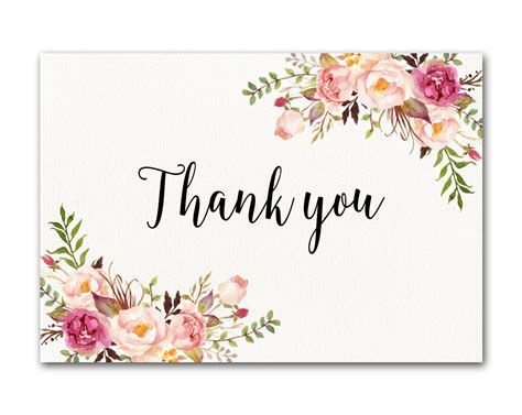 thank you card template flowers ivory thank you card floral thank you card wedding thank you