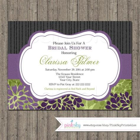 bridal shower decorations purple and green bridal shower invitations printable floral bridal