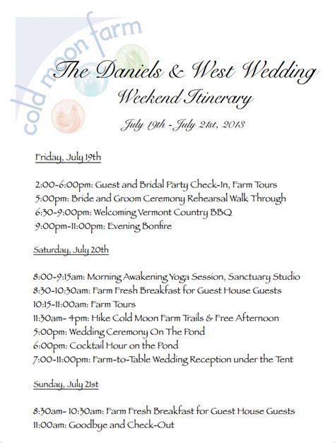 wedding weekend itinerary template wedding weekend itinerary template 7 free word pdf