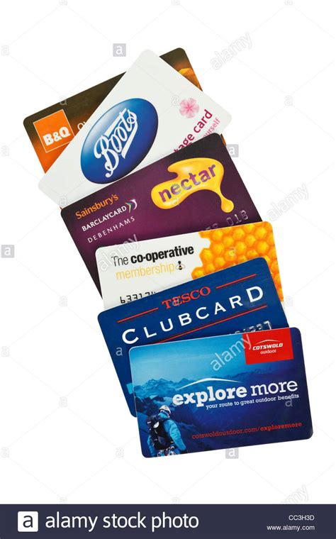 B Q Gift Card Discount - an assortment of uk loyalty cards for tesco and sainsburys stock photo royalty free