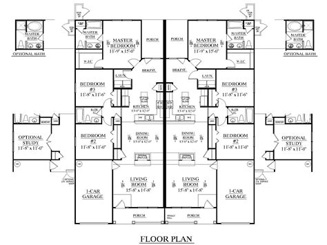 Duplex Blueprints | southern heritage home designs duplex plan 1392 d