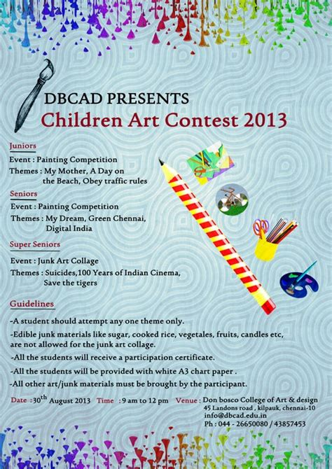 design competition names inter school art competition by don bosco college of art