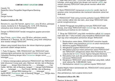contoh surat gugatan cerai aneka info aneka resep aneka tips