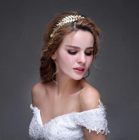 hot wedding hair accessories three piece for designer wed tiara new fashionable handmade queen gold leaf pearl