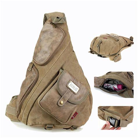 Promo 1 Set Backpack Slingbag Pouch Termurah vintage items canvas and leather chest bag sling bag tactical one single shoulder messenger book
