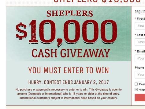Cash Sweepstakes Ending Today - sheplers 10 000 cash giveaway sweepstakes