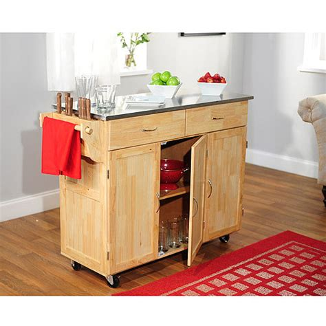 large kitchen cart with stainless steel
