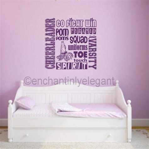 wall stickers teenage bedrooms cheerleader varsity sports vinyl decal wall sticker words lettering teen room ebay