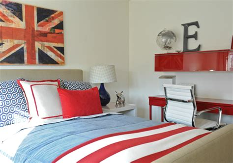 union jack bedroom red and blue bedroom with baby blue ls contemporary