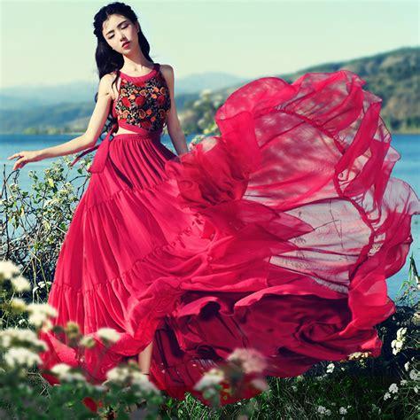 2017 new summer s bohemia embroidered midriff chiffon dress slim sleeveless maxi