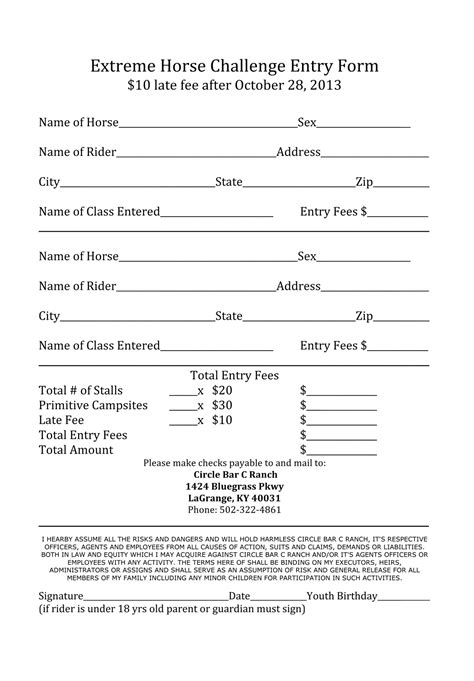 printable cing journal registration forms circle bar c ranch
