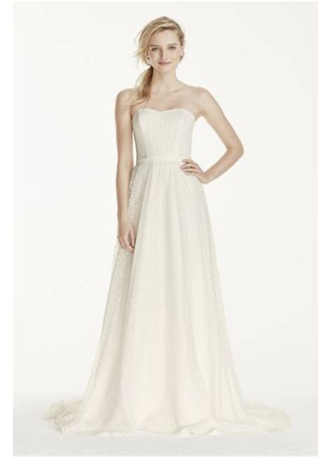 Dotted Sleeve A Line Dress strapless polka dot a line dress davids bridal