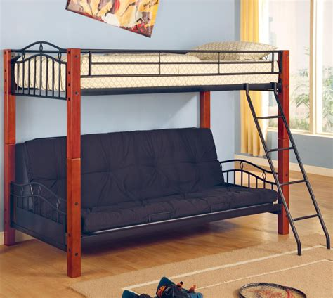coaster haskell metal  wood casual twin  futon bunk