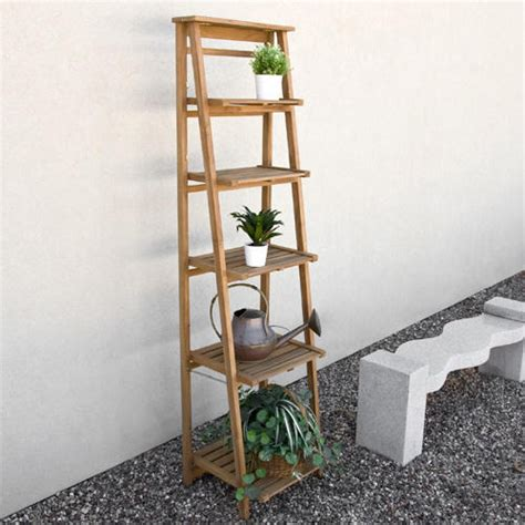 oversized ladder style teak plant stand outdoor