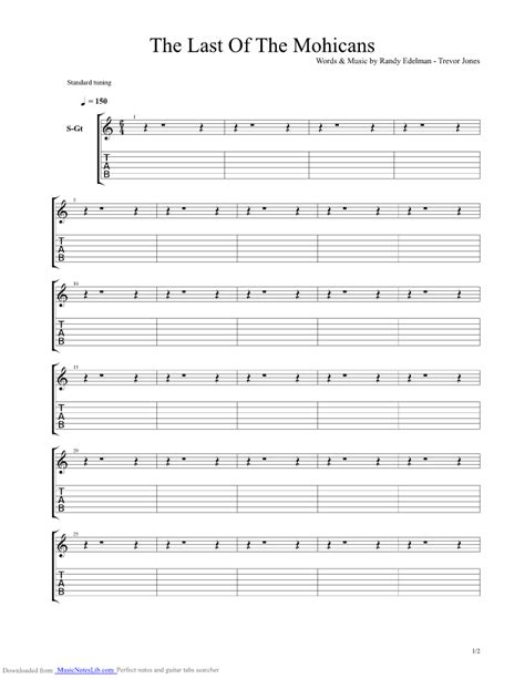 last notes the last of the mohicans guitar pro tab by randy edelman