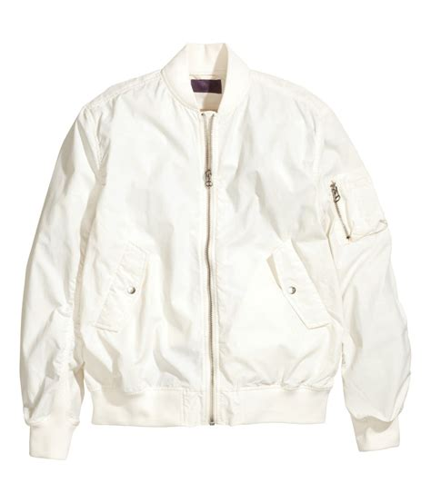H M White lyst h m bomber jacket in white for