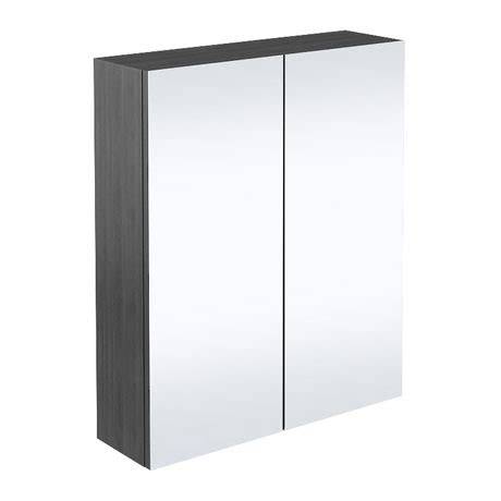 Black Mirrored Bathroom Cabinet 2 Door Mirror Cabinet Hacienda Black 600mm