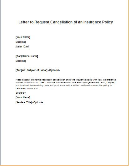 Cancellation Letter For Insurance Company insurance policy cancellation request letter
