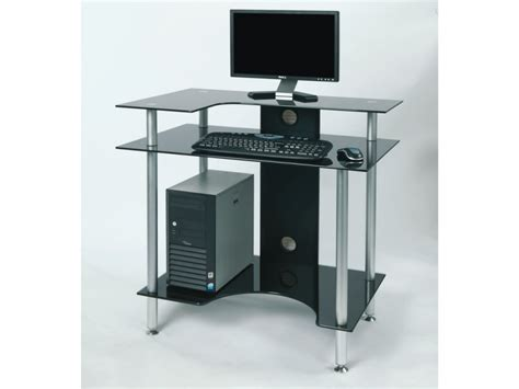 Black Glass Computer Desks Glass Computer Desk Corner Glass Computer Desk New Zealand Pertaining To Black Glass Corner