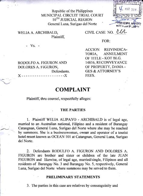 Complaint Letter Format Philippines 101 Resort Welia Alipayo Submits Sworn Complaint With False Claims Welia Alipayo 101