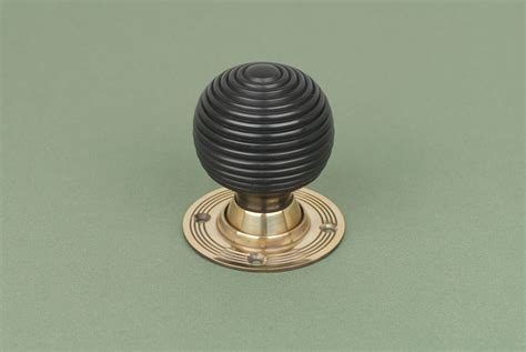 Brass Door Knobs With Backplate by Pair Of Solid Beehive Door Knobs Handles With