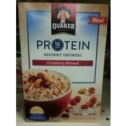 protein quaker oatmeal quaker protein instant oatmeal cranberry almond calories