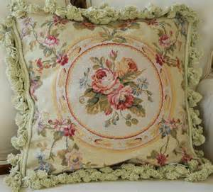 French Country Garden Decor - 18 quot french country style handmade petitpoint needlepoint pillow w tassel 8523 8 ebay