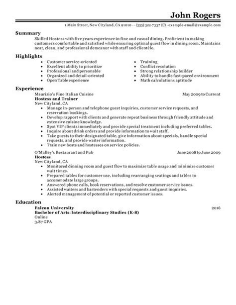 Sle Resume Of Restaurant Hostess Best Host Hostess Resume Exle Livecareer