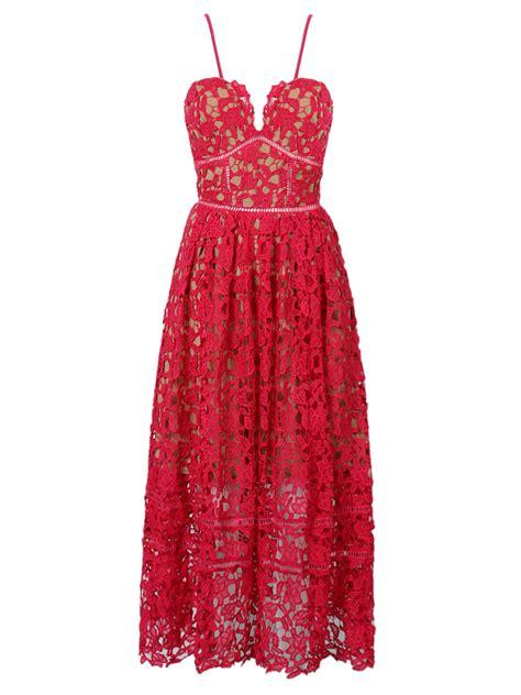 Lace Spaghetti Midi Dress spaghetti crochet lace midi dress choies