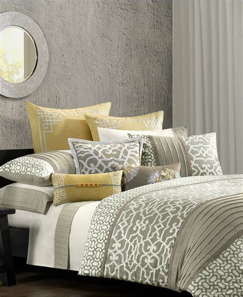 grey and yellow bedroom sets n natori fretwork comforter sets