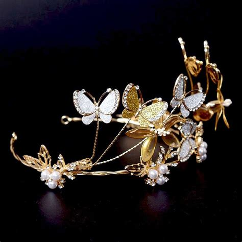 Handmade Wedding Tiaras - golden butterfly bridal tiaras headband wedding hair