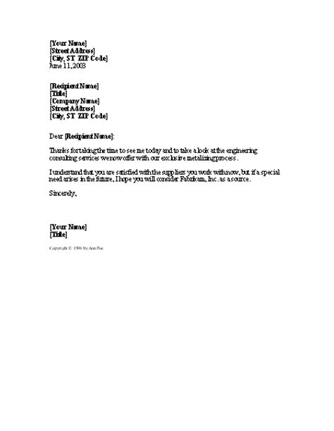 sales follow up letter follow up to sales call word 2003 or newer letter