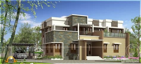 modern roof designs for houses modern flat roof house with 4 bhk kerala home design and floor plans