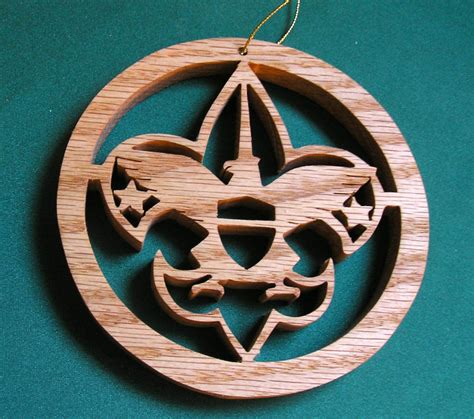 boy scout ornament handcrafted of red oak