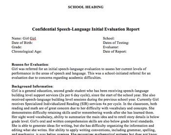 educational speech language initial eval re eval report