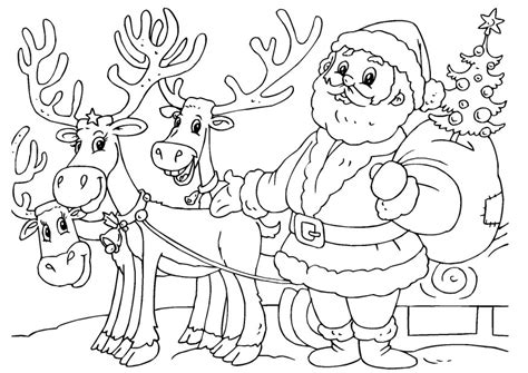 Santa And Reindeer Coloring Pages Printable free printable reindeer coloring pages for