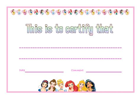 princess certificate template