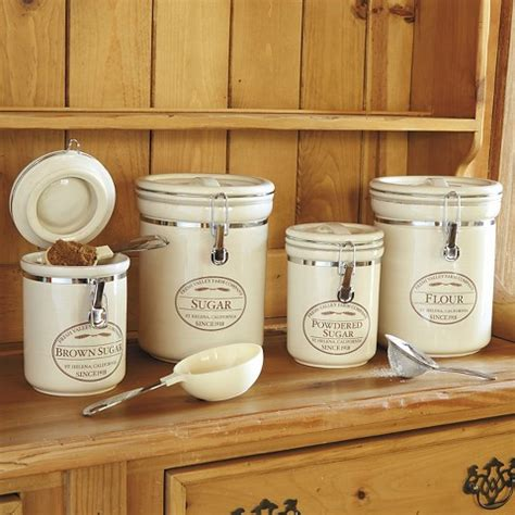 kitchen flour canisters chefs fresh valley farm 4 canister set