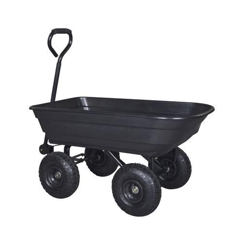 heavy duty poly black garden utility yard dump cart wheel