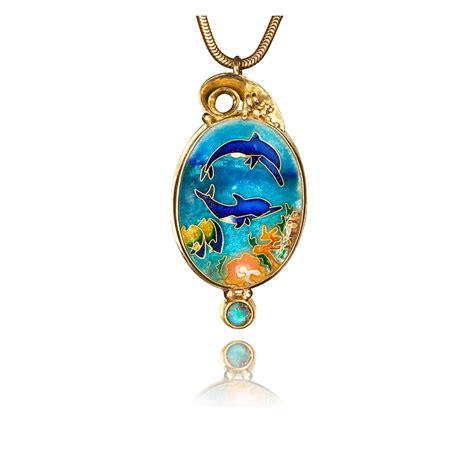 enamel jewelry cloisonne jewelry dolphins in the sea enamel jewelry