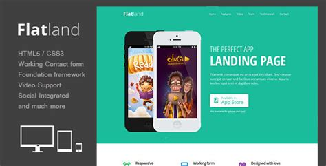 themeforest video landing page flatland responsive html5 app landing page by theme