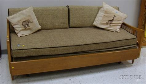 sofa bed with trundle 770 mid century modern caned wood trundle sofa bed wit