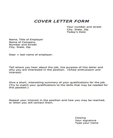 cover letter template form 34 letter templates in pdf free pdf documents