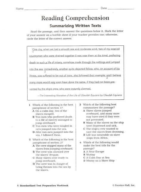 printable reading comprehension tests high school worksheets high school reading comprehension worksheets