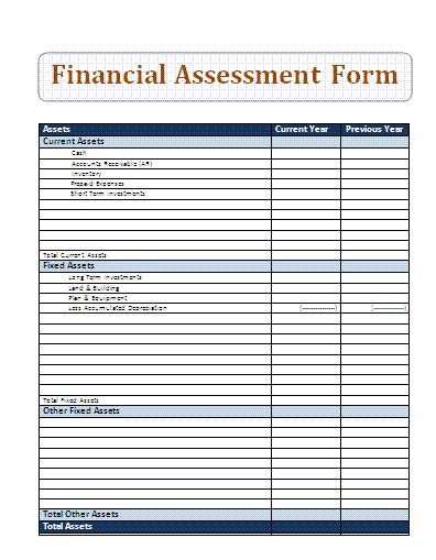 financial assessment template business financial assessment form sle forms