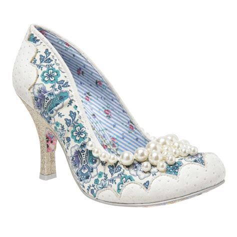 irregular choice shoes irregular choice pearly girly white and blue court shoe