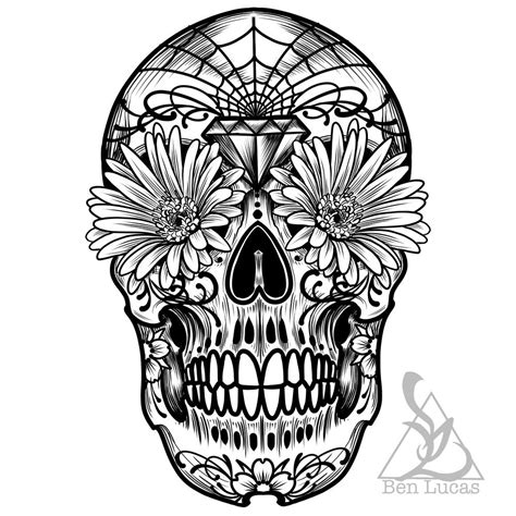 sugar skull tattoo outlines pictures day of the dead sugar skull black and white digital