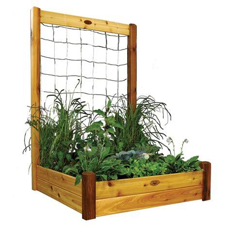 Raised Bed Trellis gronomics raised garden bed with trellis kit 48x48x13